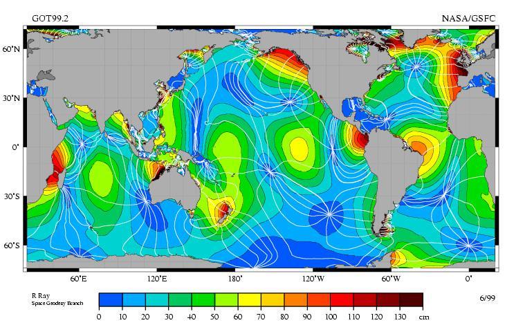 Getijdenkaart wereld | © NASA
